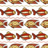 Vector seamless sea fish pattern. Red and gold fish swim on white background. Boundless background can be used for web page backgrounds, wallpapers, wrapping Royalty Free Stock Photography