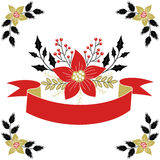 Red and gold floral Christmas design elements Stock Photography