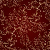 Red gold floral vintage seamless pattern. Vector background Stock Photo