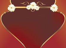 Red gold flower curve design. Gold floral design on a red background Stock Image