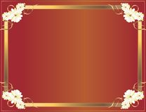 Red Gold flower frame. Gold floral frame on a red background Stock Images