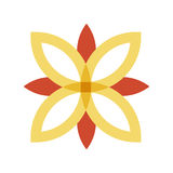 Red and gold flower logo. Minimalistic illustration of a red and gold flower logo that can be used as logo symbol or as isolated design element Royalty Free Stock Photo