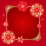 Red and gold flower paper cut and gold frame on red background vector design Stock Image
