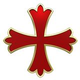 Red with gold frame heraldic cross. Computer generated 3D photo rendering Royalty Free Stock Photography