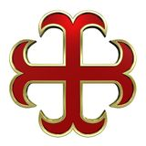 Red with gold frame heraldic cross. Computer generated 3D photo rendering Stock Image