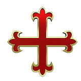 Red with gold frame heraldic cross Stock Photography