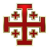 Red with gold frame heraldic cross Royalty Free Stock Images