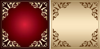 Red and gold vector frames with vintage decorations Royalty Free Stock Image