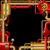 Red and gold gas pipes on black. Industrial frame and background. There is in addition a vector format EPS 10 Stock Photos