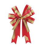 Red and gold gift bow and ribbon with clipping path Stock Photos