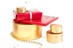 Red and gold gift boxes. Stock Photos