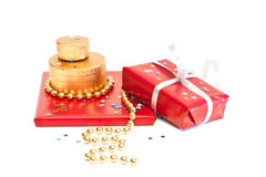 Red and gold gift boxes. Stock Photo