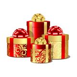 Red and gold gift boxes Stock Image