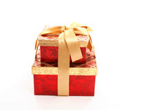 Red and gold gift boxes Stock Photo