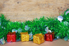 Red and gold gift boxes for Christmas eve. Royalty Free Stock Image