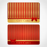 Red and gold gift card with stripy pattern stock image
