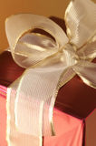 Red/gold gift close-up Royalty Free Stock Photo