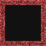 Red gold glitter. Square scattered border with red gold glitter on black background. Terrific Vector illustration stock illustration