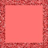 Red gold glitter. Square scattered border with red gold glitter on pink background. Charming Vector illustration stock illustration