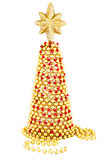 Red and gold hand made Christmas tree. Red and gold Christmas tree hand made from worn old vintage beads. Economical, craft theme. Intended for greeting card Royalty Free Stock Image