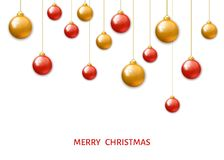 Red and gold  hanging Christmas balls  on white background. Royalty Free Stock Photo