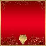 Red gold heart frame plaque  Royalty Free Stock Photos