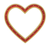 Red gold heart picture frame isolated on white. Stock Images