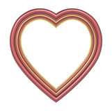 Red gold heart picture frame isolated on white. Royalty Free Stock Photo