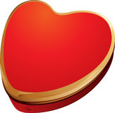 Red and Gold Heart Shape Gift Box Royalty Free Stock Images