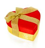 Red and gold heart shaped box Stock Image