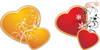 Red and gold hearts with floral ornament Royalty Free Stock Photos