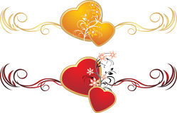 Red and gold hearts with floral ornament Royalty Free Stock Photography