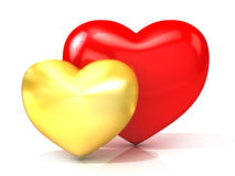 Red and gold hearts. Front view Royalty Free Stock Photos