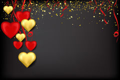 Red and gold hearts on ribbons with confetti on a black. Valentine`s Day card with red and golden hearts on ribbons with confetti on a black background Royalty Free Stock Photo