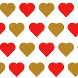 Red and gold hearts seamless pattern. Vector illustration on white background stock illustration