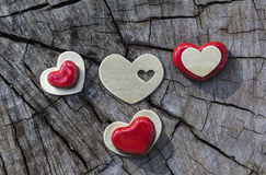 Red and Gold Hearts on Wood Stock Image