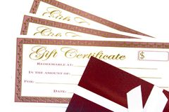 Red and Gold Holiday Gift Certificates. On a White Background stock images