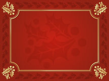 Red and Gold Holly Trimmed Background Royalty Free Stock Photo