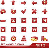 Red and gold icons set 2 Stock Photo
