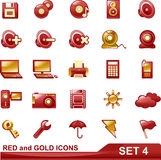 Red and gold icons set 4 Stock Images