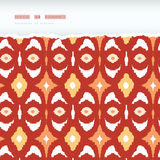 Red and gold ikat geometric frame horizontal torn Stock Photos
