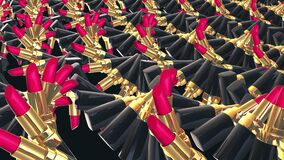 Red gold lipsticks moves in rows in hypnosis surreal spinning wave. High fashion, glamorous magazines, sexy women