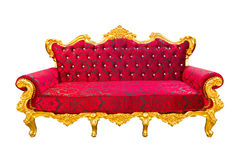 Red and gold luxury armchair isolated Stock Photography