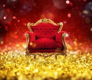 Red and gold luxury armchair into an sparkle room. Concept of luxury and success with red velvet and gold armchair into a sparkle room stock photography