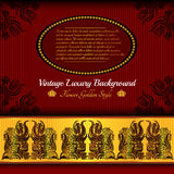 Red gold luxury background with flower pattern Royalty Free Stock Image