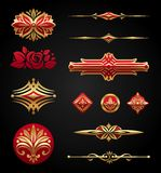 Red & gold luxury design elements. On black background Stock Photo