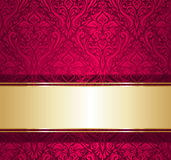 Red and gold  luxury vintage wallpaper Stock Photos