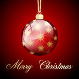 Red gold merry christmas ball Stock Photography