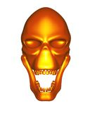 Red Gold metal alien skull - front view Stock Image