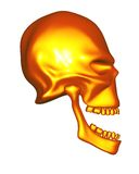 Red Gold metal alien skull - side view Stock Photo
